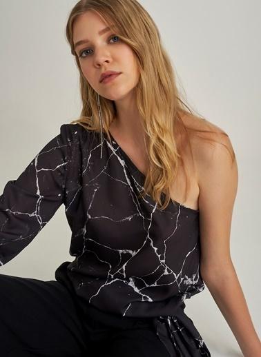 Ng Style Mermer Desenli Bluz Siyah